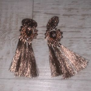 Brown bronze tassel drop earrings dangle boho